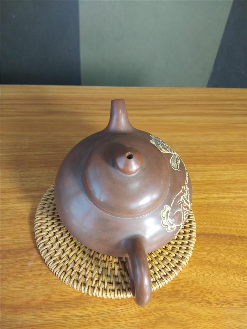坭兴陶经典壶型合欢浮雕壶