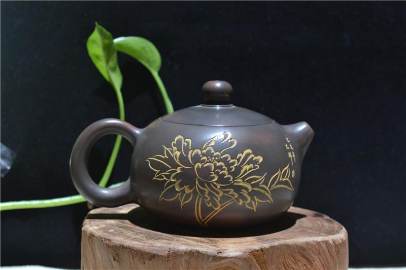 坭兴陶山水花卉茶壶零售厂家